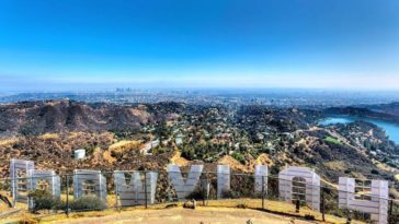A view Los Angeles city from behind the Hollywood sign